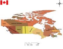 Carte canadienne de dix provinces et de trois territoires illustration libre de droits