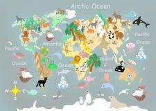Carte cartoonish d'enfants d'animaux plats du monde illustration stock
