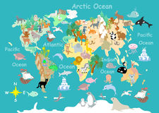 Carte cartoonish d'enfants d'animaux plats du monde illustration de vecteur