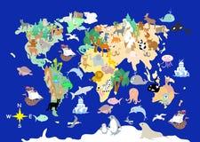 Carte cartoonish d'enfants d'animaux plats du monde illustration de vecteur