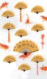 Carte chinoise de koi de calligraphie de fan Photographie stock libre de droits