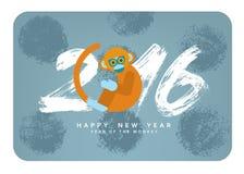 Carte chinoise de nouvelle année avec le singe mignon de bande dessinée Symbole de 2016 illustration libre de droits