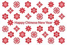 Carte chinoise de nouvelle année avec les icônes chinoises illustration stock
