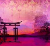 Carte chinoise de nouvelle année - lanternes traditionnelles et bâtiments asiatiques Photo stock