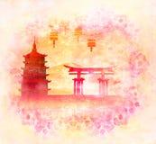 Carte chinoise de nouvelle année - lanternes traditionnelles et bâtiments asiatiques Photographie stock