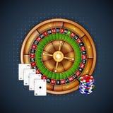 Carte, chip e roulette Fotografia Stock