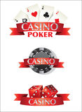 Carte Chips Dice Poker Casino Immagine Stock