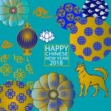 2018 carte cinesi del nuovo anno che tagliano anno di cane royalty illustrazione gratis