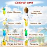 Carte classique de cocktail avec l'ensemble de cocktails savoureux tropicaux pour a Photographie stock