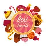 Carte colorée avec des bonbons Image libre de droits