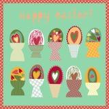 Carte colorée avec des cuvettes d'oeuf de pâques Images stock