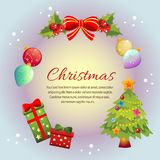 Carte colorée de cadre de Noël de cercle coloré illustration de vecteur