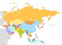 Carte colorée de l'Asie avec des noms illustration de vecteur