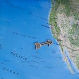 Carte colorée de voyage de l'Amérique du Nord Etats-Unis d'amusement avec la flèche en bois indiquant Los Angeles photo libre de droits