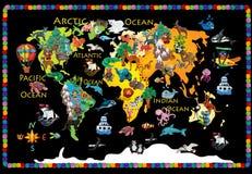 Carte colorée des enfants 3d de pâte à modeler d'animaux du monde illustration libre de droits