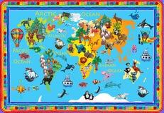 Carte colorée des enfants 3d de pâte à modeler d'animaux du monde illustration stock