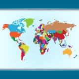 Carte colorée simple du monde Image libre de droits
