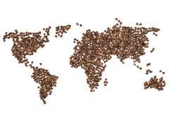Carte comestible du monde faite à partir des grains de café photo stock
