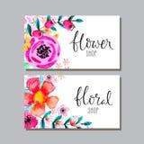 Carte con i fiori dell'acquerello Fotografia Stock Libera da Diritti