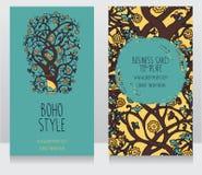 Carte con l'albero di fioritura nello stile di oriente Fotografia Stock Libera da Diritti