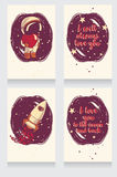 Carte cosmiche disegnate a mano sveglie per il San Valentino Immagini Stock Libere da Diritti