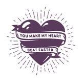 Carte créative avec le coeur et le texte romantique Photo stock