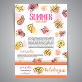 Carte créative d'isolement de fond avec des fleurs Éléments floraux tirés par la main Bannières de calibre de vecteur pour l'affi Image stock