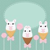 Carte créative plate de lapin de vecteur Photographie stock