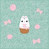 Carte créative plate de lapin de vecteur Image libre de droits