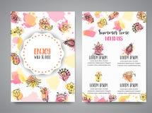Carte creative isolate del fondo con i fiori Elementi floreali disegnati a mano Forposter delle insegne del modello di vettore illustrazione di stock