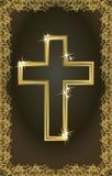 Carte croisée chrétienne d'or heureuse de Pâques Photographie stock
