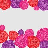 Carte décorative avec de belles roses Photo libre de droits