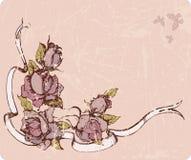 Carte décorative avec des roses Photographie stock