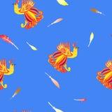 Carte décorative avec le Firebird, fond sans couture de plumes illustration libre de droits
