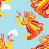 Carte décorative avec le Firebird, fond sans couture de plumes illustration de vecteur