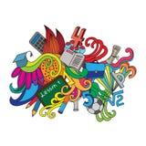 Carte décorative de conception de griffonnages de vecteur de nouveau à Photo libre de droits