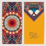 Carte décorative de label pour la conception de vintage, ethnique Photos stock