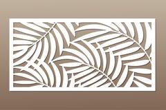 Carte décorative pour la coupure Modèle en feuille de palmier Coupe de laser Photo stock