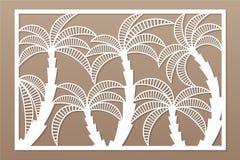 Carte décorative pour la coupure Modèle en feuille de palmier Panneau de coupe de laser 2:3 de rapport Illustration de vecteur Images libres de droits