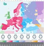 Carte détaillée de fuseaux horaires de l'Europe haute avec des icônes d'emplacement et d'horloge illustration stock