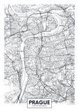 Carte détaillée Prague de ville d'affiche de vecteur illustration libre de droits