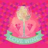 Carte d'échantillon de vin, signe de raisin et un verre coloré Images libres de droits