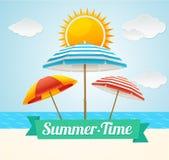Carte d'été de parapluie de plage de vecteur Image libre de droits