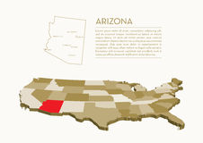 carte d'état de 3D Etats-Unis - ARIZONA Illustration Stock