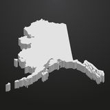 Carte d'état de l'Alaska dans le gris sur un fond noir 3d Photo stock
