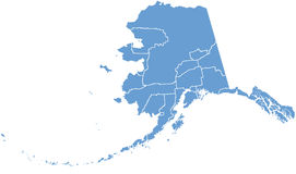 Carte d'état de l'Alaska par des comtés illustration de vecteur