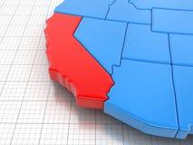 Carte d'état de la Californie avec le drapeau Photos libres de droits