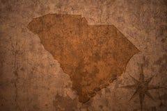 Carte d'état de la Caroline du Sud sur un vieux fond de papier de vintage image libre de droits