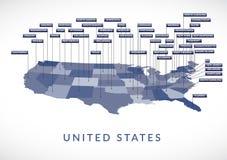 Carte d'état des Etats-Unis Image libre de droits