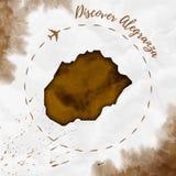 Carte d'île d'aquarelle d'Alegranza dans des couleurs de sépia Photo libre de droits